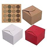 Clyhon caja de regalo de papel kraft de 12 piezas + 1 pegatina, hecha de galletas, cupcakes y varios regalos (3 colores)