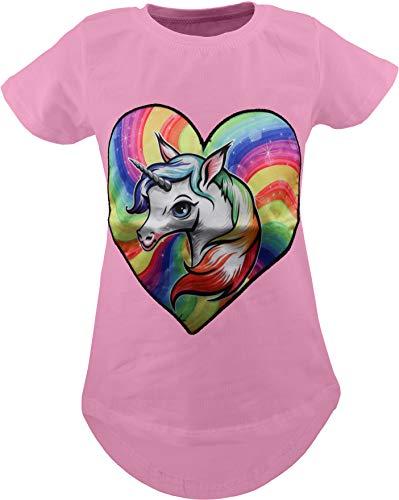 Camiseta de Manga Corta con Luces led, para niño y niña, con Cuello Redondo, Informal, con diseño de Unicornio o Mariposa, Entre Otros - 146 cm-152 cm - Corazón Rosa