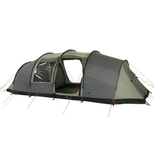 10T Outdoor Equipment 10T1752-4260181760575 Zelt Mento 8 Mann Tunnelzelt wasserdichtes Familienzelt 5000mm Campingzelt Bodenwanne & Stehhöhe, Grau Beige Personen-720x360x230 cm