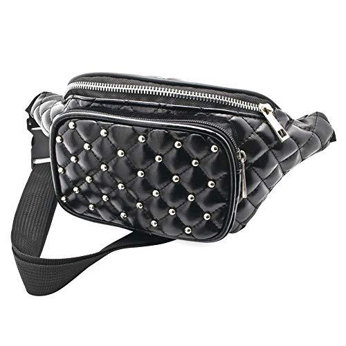 Black Padded Studded Bum Bag