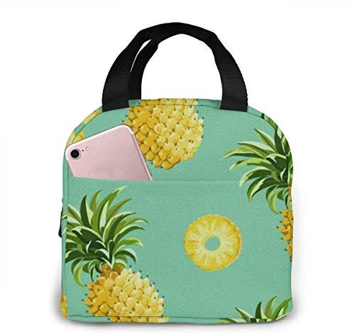 Bolsa de almuerzo portátil Hipster Pineapples para mujeres y niñas adolescentes Fiambrera aislada para viajes de trabajo y escuela