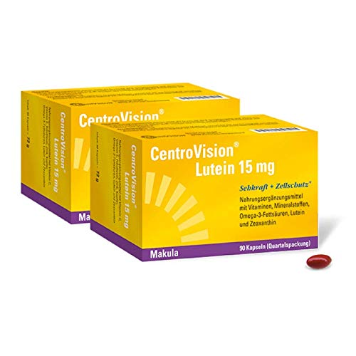 Centrovision Lutein 15mg, Vorteilspack: 2 x 90 Kapseln, Augenvitamine