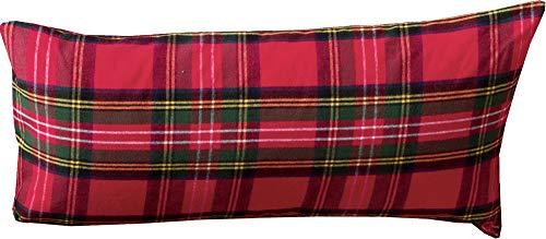 Erwin Müller Kissenbezug, Kissenhülle Flanell buntgewebt rot Größe 40x80 cm - hautsympathisch, atmungsaktiv, samtweich, 100% Baumwolle, mit Knopfverschluss (weitere Größen)