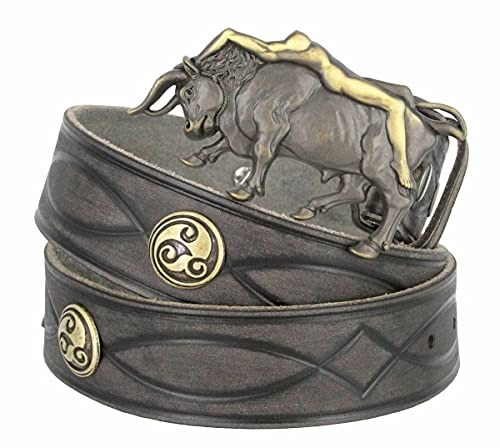 382000-BS9171-HA1437 Full Grain Leather Tooled Strap w/Lady Bull Buckle and Celtic Conchos Belt 1-1/2' (38mm) Wide (Gray, 32)
