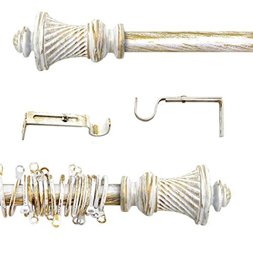 AT17 Gardinenstange Ausziehbar, Vorhangstange Gardinenstange Variable Länge Landhaus Shabby Chic - Vintage - 120-210 - Durchmesser 2 cm - Weiß/Gold - Metall