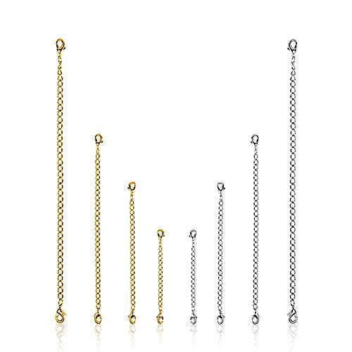 XCOZU Kettenverlängerung, 8 Stück Halskette Verlängerung Edelstahl Armband Kette Verlängerung, Sicherheitsketten für die Schmuckherstellung Silbern und Golden
