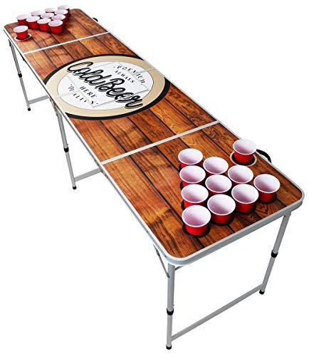 Original Premium Beer Pong Tisch - Wood - inkl. Eisfach, 6 Beer Pong Bälle & Becherhalterung (inkl. 50 Red Cups & 50 Mini Shot Cups)