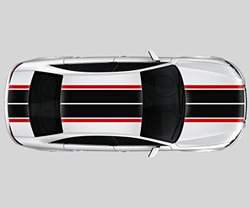 55 x 400 cm Viperstreifen 2 - farbig Rallystreifen Streifen Rennstreifen Auto Aufkleber Tuning Dekor Viper 2N353, Farbe I:DunkelRot glanz;Farbe II:Schwarz glanz