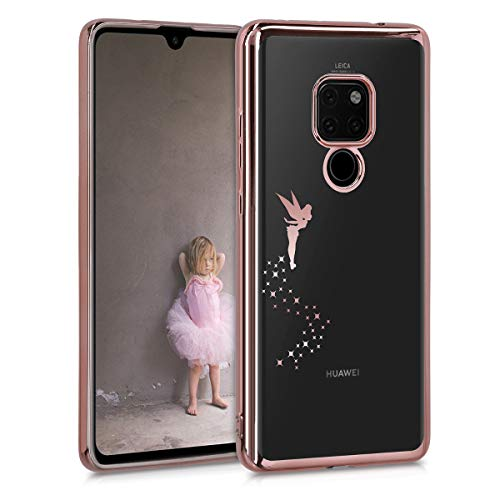 kwmobile Cover Compatibile con Huawei Mate 20 - Custodia Protettiva Cover in Silicone TPU Cristallo Trasparente - Back Cover Case Cellulare Fatina Oro Rosa/Trasparente