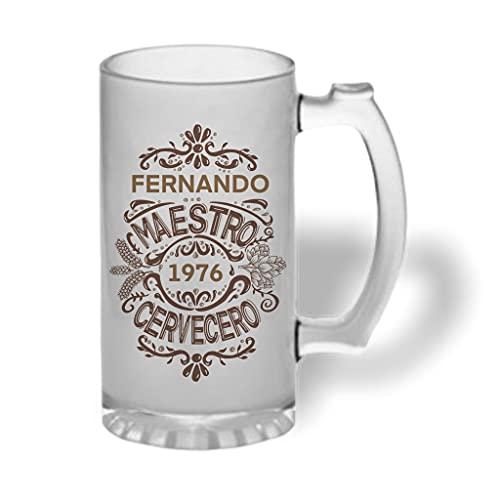 Bee Ingenious Jarra cerveza personalizada de cristal esmerilado. Jarra de cerveza original: Maestro cervecero con nombre y año personalizados