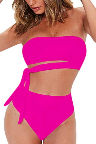 FAFOFA Women's Sexy Bandeau Tie Waist High Waisted Two Pieces Bikini Set Swimsuit (L, Rosy)