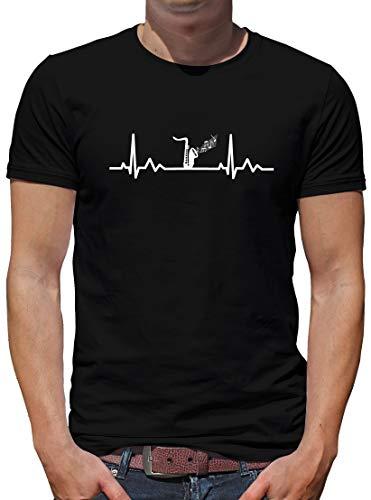 TShirt-People Herzschlag Saxophon T-Shirt Herren Musik Konzert Musical XXL Schwarz