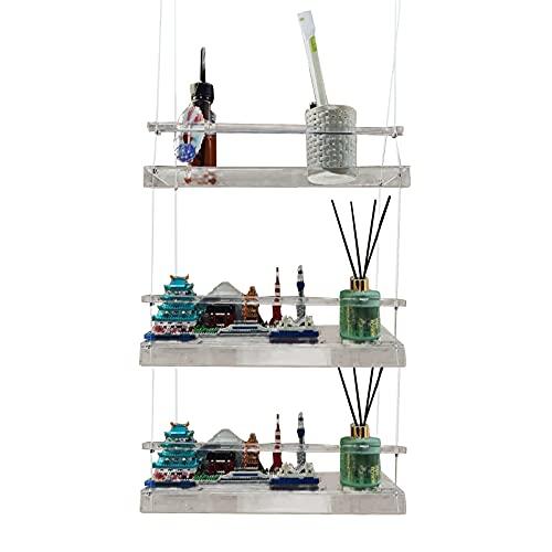 LEMCC Estante para colgar en la pared, cuerda de columpio flotante de acrílico, estante de cuerda de granja para sala de estar, dormitorio, baño, decoración de cocina