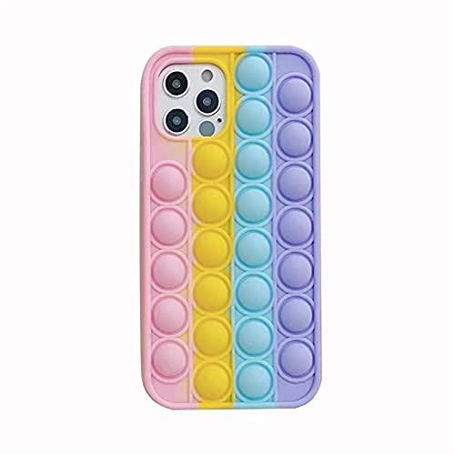 Hnzxy Sensorial Fidget Juguete Funda, Push Pop Bubble Sensory Toy Funda, Pop It Figit Toy Carcasa Necesidades Especiales Aliviador del Antiestrés del Juguetes Funda para iPhone 11