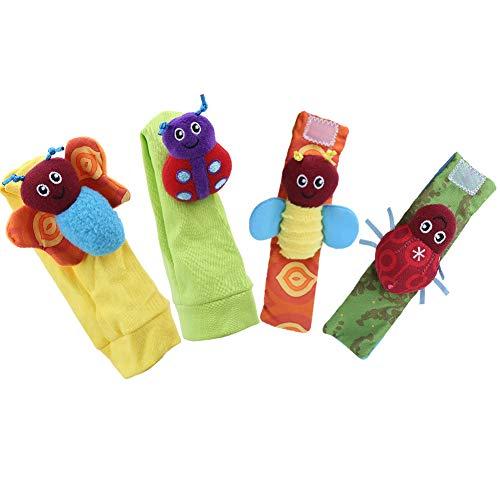 Faviu Muñequera, Campanilla, Colores Brillantes, saludables, convenientes, sonajeros de Animales, Aspecto Lindo para Regalo de 0 a 2 años de Edad(Set of Socks Wrist)