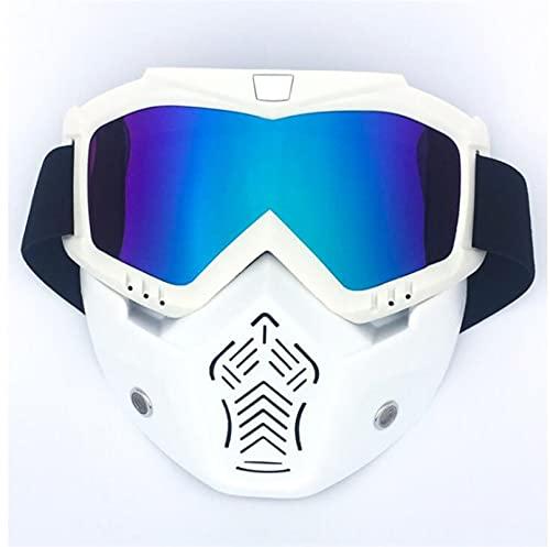 Gafas Moto,Moto Gafas Máscara modular Gafas de gafas desmontables y filtro bucal perfecto para la cara abierta Motocicleta medio casco o cascos vintage Gafas Motocross (Color : 06)