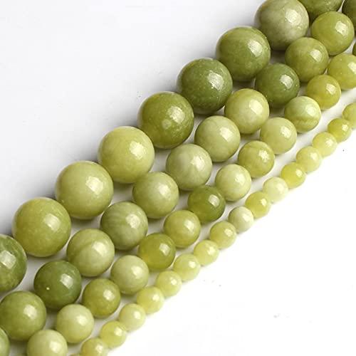 YANGYUE Cuentas de Piedra Natural Jades Verde Esmeraldas Peridoto Turquesas Cuentas Redondas Sueltas para Hacer Joyas Pulsera de Navidad DIY