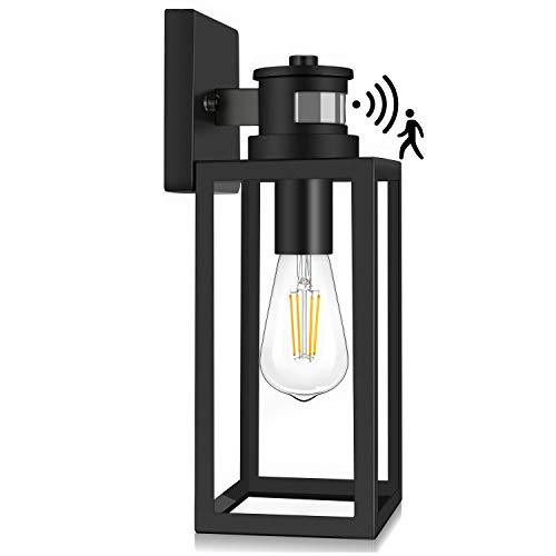 Motion Sensor Outdoor Wall Lantern, Dusk to Dawn Photocell Exterior Light Fixture Wall Mount,100% Aluminum, Clear Glass, Matte Black Wall Sconce for Porch Doorway Garage, E26 Socket, Motion Activated