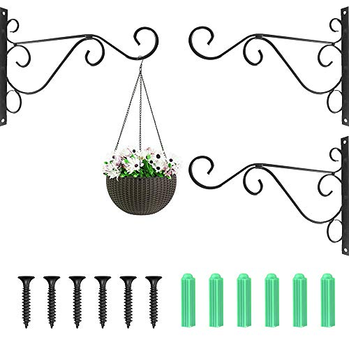 3 Stück Blumenampel Halterung - Wandhaken für Blumenampel, Wand Haken Blumenampel Schwarz Metall, Pflanze Wandhalterung für Blumenampel/Hängekörbe/Laternen/Gardening Decoration, mit 6 Schrauben
