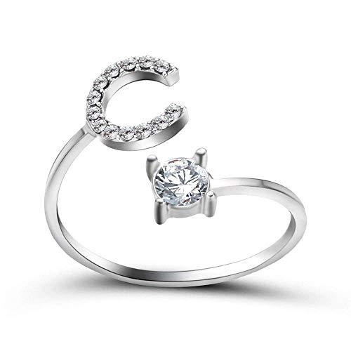 Anillo abierto Gflyme para mujer, creativo anillo ajustable de circonita con 26 letras C, joyería de plata unisex, regalos para bodas, graduación, cumpleaños, cumpleaños, promesa
