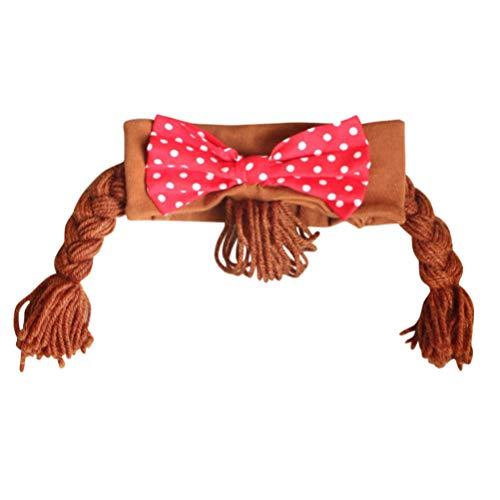 Lurrose Kids Haar Vlecht Hoofdband Leuke Strik gebreid Haar Haarband voor Kinderen Meisjes (Bruin)