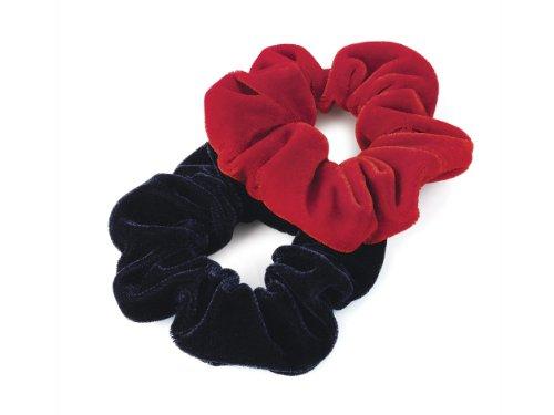Pair of Red and Navy Velvet Feel Hair Scrunchies Bobbles Elastic Hair Bands by Hair Scrunchies