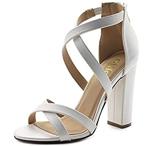 "The colors Black, Natural, Red, Yellow are Faux Suede material, and White, Gold are Faux Leather Zip Up Closure Stacked Block Chunky Heels Heel Height: 4.00"" Occasion: Dress, Party, Club, Wedding, Office, Work, School, Casual"