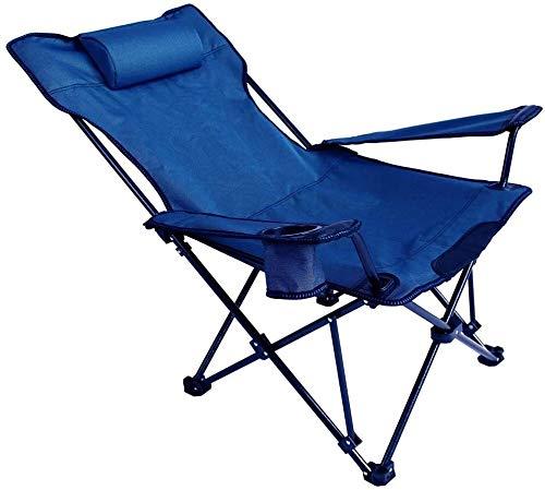Portable Chaise de camping Tissu Oxford Poids léger pliant Chaise longue Chaise avec Sun Pillow Reclining Garden Beach Office