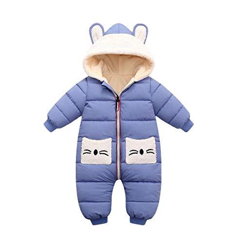 Minizone Strampler mit Kapuze für Baby Jungen Mädchen Winter Overall Baumwolle Jumpsuit Outfits Tasche Langarm Schneeanzug Geschenk 1-2 Jahre,Blau