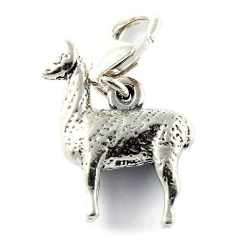 Sterling Silver Llama Clip On Charm - Soldered On Clasp
