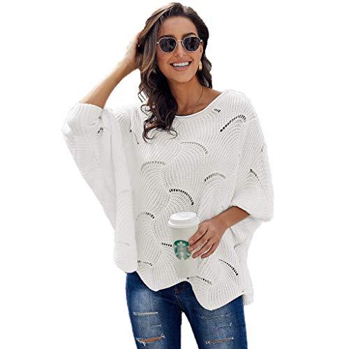 JHDDP3 Suéter de Punto Elegante de otoño e Invierno, Jersey a Cielo Abierto con Manga de Batwing y Dobladillo Ondulado (Color : White, Size : Small)
