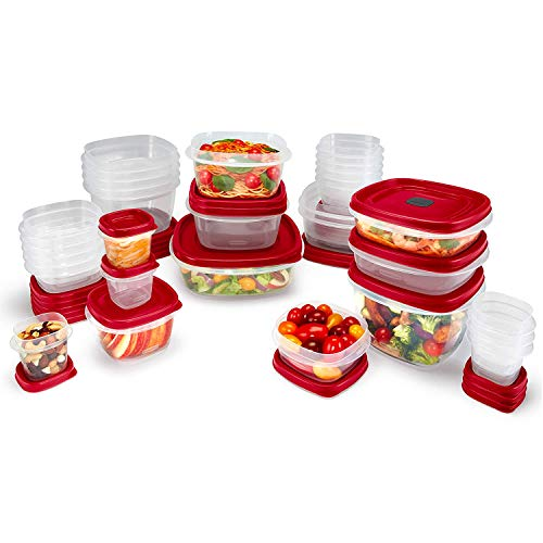A selection of food prep containers with red lids