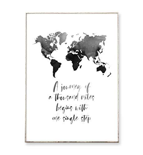 Kunstdruck Poster Bild ONE SINGLE STEP -ungerahmt- Typografie Dekoration Reisen Weltkarte