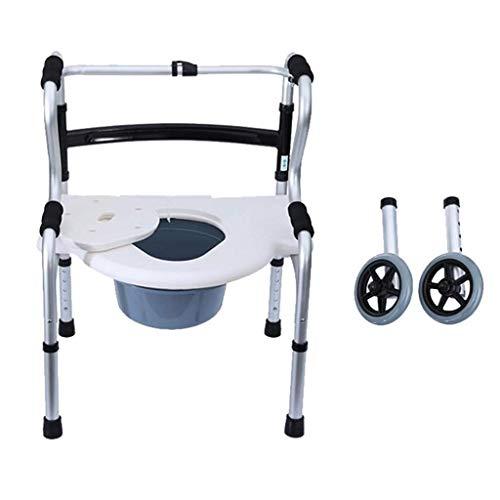 Z-SEAT Mobiler Toiletten-Toilettensitz mit Rollstuhl aus Aluminium, Mobilitätshilfe für Behinderte mit abnehmbarem Topf, rutschfest, leicht