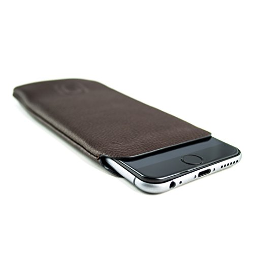 Dockem Synthetic Leather Sleeve for iPhone 12 Mini, iPhone SE 2020, iPhone 8, 7, 6 & 6S: Ultra Slim Professional Executive Faux Leather Pouch Case (Dark Brown)