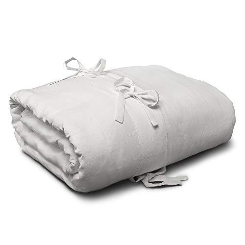 Dekbedovertrek uit linnen in hartvorm, van puur linnen, 100% linnen, crèmekleurig, voor tweepersoonsbed (250 x 200 cm)