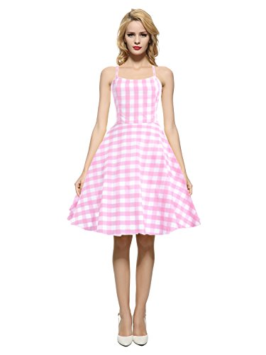 Maggie Tang Women's 1950s 60s Vintage Plaid Print Casual Party Dress Pink L
