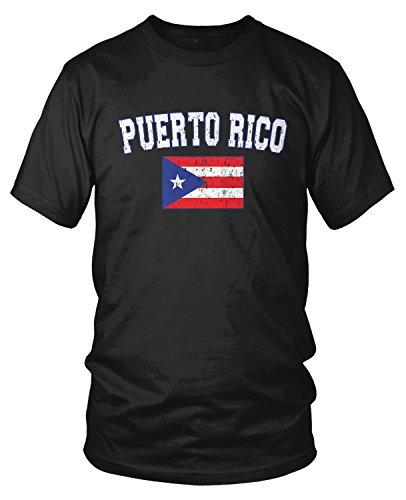 Amdesco Men's Puerto Rico Flag, Distressed Boricua Flag T-Shirt, Black Small