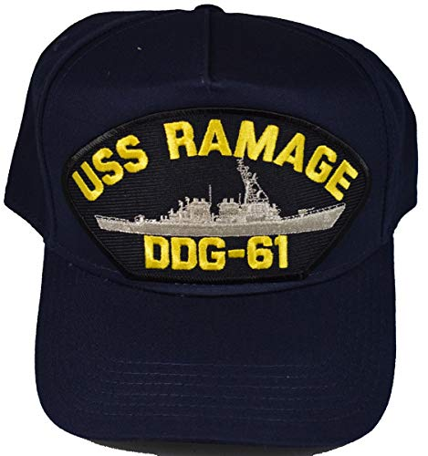 EC USS Ramage DDG-61 Ship HAT - Navy Blue - Veteran Owned Business