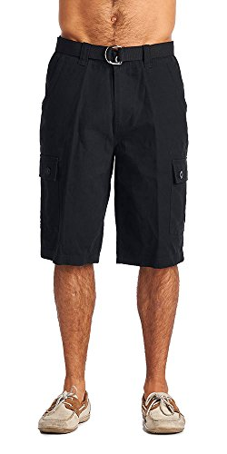 One Tough Brand Men's Cotton Twill Belted Cargo Shorts (32, Black)