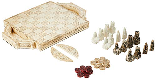 Design Toscano Isle of Lewis Chess Set with Board Box, 17 Inch, Polyresin, Ancient Ivory