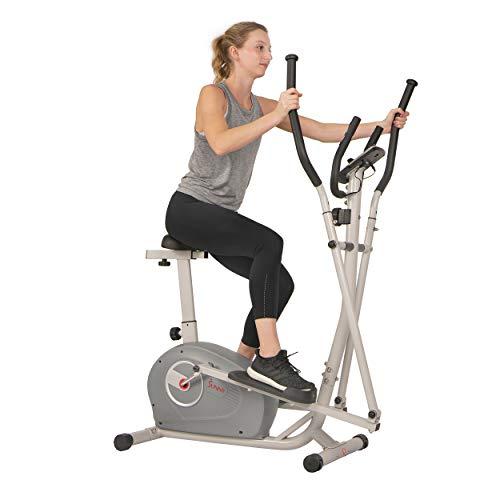 Sunny Health & Fitness Unisex-Adult 2 in 1 magnetisches elliptisches aufrechtes Fahrrad-SF-E3903 Crosstrainer, grau, One Size