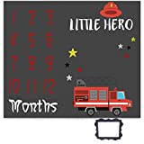 Little Hero Milestone Blanket, Cartoon Fire Truck Blanket, 47x40 inches Photography Blanket for Baby Boy, Soft Fabric Blanket for Growing Infants, EADS477
