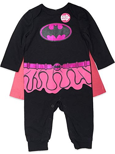 Warner Bros. Batgirl Baby Girls Costume Coverall with Cape, Black/Pink 3-6 Months
