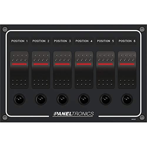 Paneltronics Waterproof Panel - DC 6-Position Illuminated Rocker Switch & Circuit Breaker (45304)