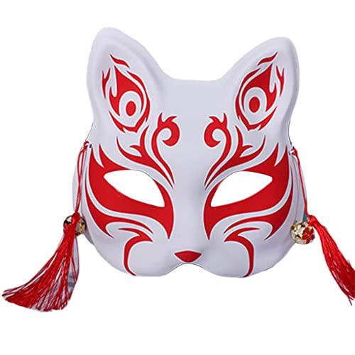 CAFFAINA Anime Demon Slayer Foxes Pintado a Mano japonés Media Cara Festival Ball Kabuki Kitsune Cosplay Prop- Rojo # 4
