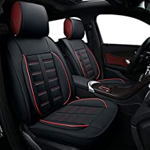 TKAAKT Car Seat Covers, Faux Leatherette Automotive Vehicle Cushion Cover for Cars SUV Pick-up Truck Universal Fit Set for Auto Interior Accessories- C-2P-(Black-Red)