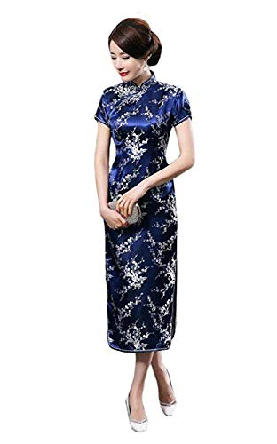 EXPOING Cheongsam Dress for Women Chinese Dress Floral Long Party Prom Dress Qipao (Blue, Chinese Size 2XL)