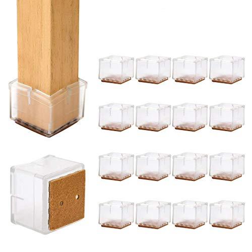 Ezprotekt Tazas de goma para pies de silla, 16 PCS 29-35 mm Silicona antideslizante Cuadrados Muebles Patas de patas Mesa Pies Cubiertas Cubiertas Muebles Almohadillas Protector de piso