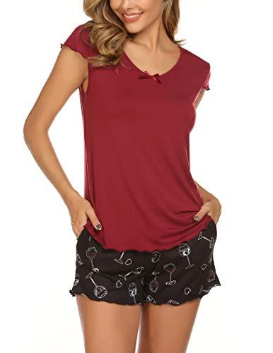 Ekouaer Women's Shorts Pajama Set Cap Sleeve Crewneck Bamboo Lounge Sleep Set, Wine Red, Medium
